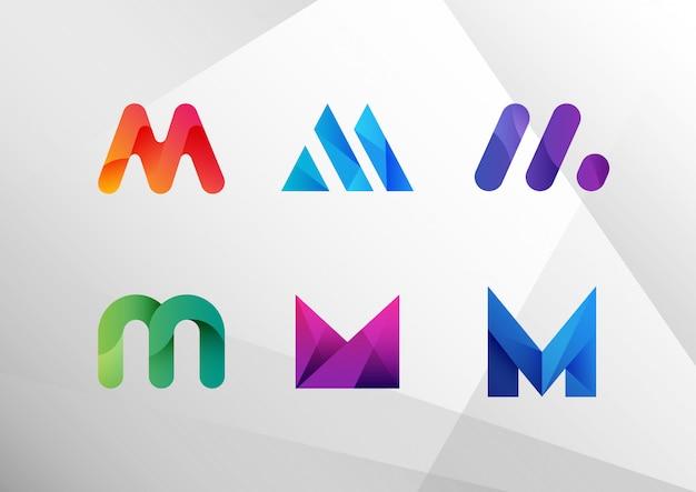 Conjunto de letra m gradiente abstrata