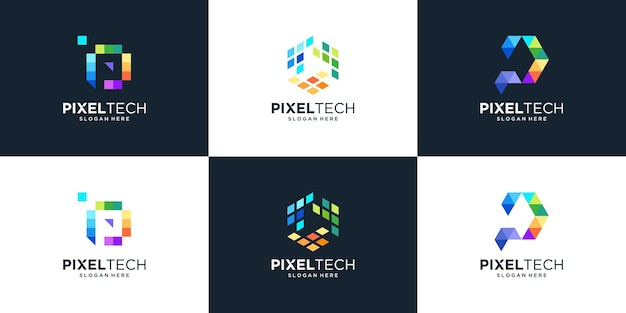 Conjunto de letra p abstrata com design de logotipo de tecnologia de pixel