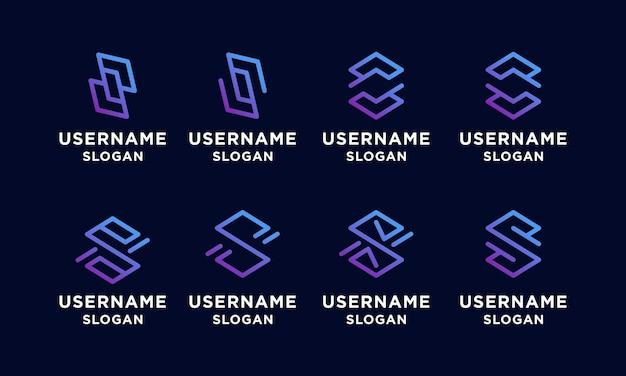 Conjunto de letra s abstrata inicial, modelo de design de logotipo de arte de linha