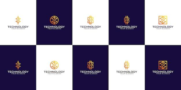 Conjunto de letra s design de logotipo abstrato símbolo tecnologia de marca de letra