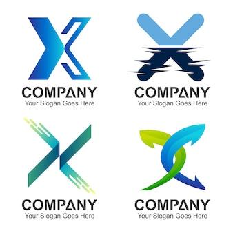 Conjunto de letra x logotipo conceito