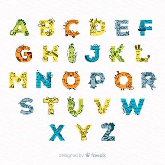 Conjunto de letras adoráveis feitas de animais fofos