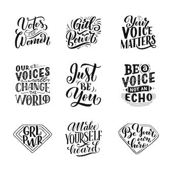 Conjunto de letras citações sobre poder de voz e garota mulher. elemento de tipografia de design gráfico de inspiração de caligrafia. estilo escrito à mão.