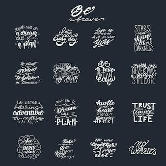 Conjunto de letras com frases de motivação. ilustração do vetor.