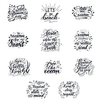 Conjunto de letras com frases de verão