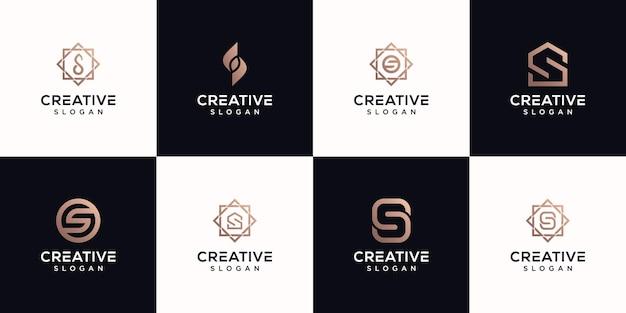 Conjunto de letras com monograma design de logotipo premium vektor