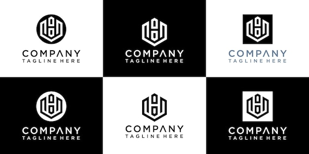 Conjunto de letras criativas com modelos de logotipo