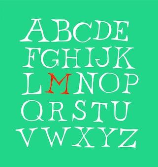 Conjunto de letras da fonte em inglês.
