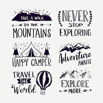 Conjunto de letras de acampamento e aventuras