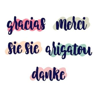 Conjunto de letras de agradecimento em idioma diferente