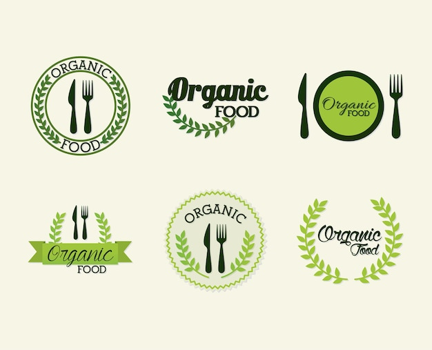 Conjunto de letras de alimentos orgânicos em branco