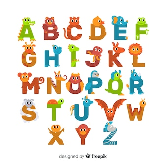 Conjunto de letras de animais fofos design plano