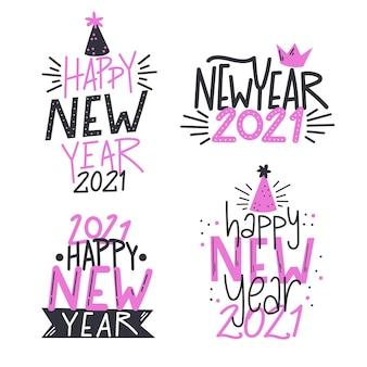 Conjunto de letras de ano novo 2021