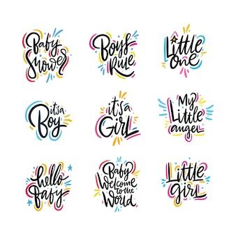 Conjunto de letras de bebê.