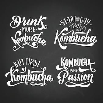 Conjunto de letras de chá de kombuchá
