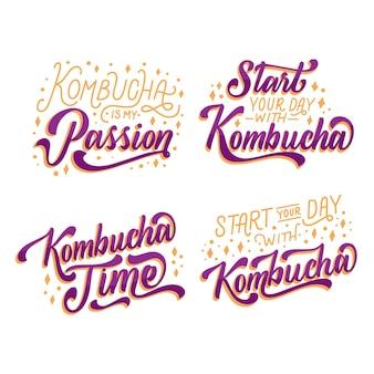 Conjunto de letras de chá de kombutcha