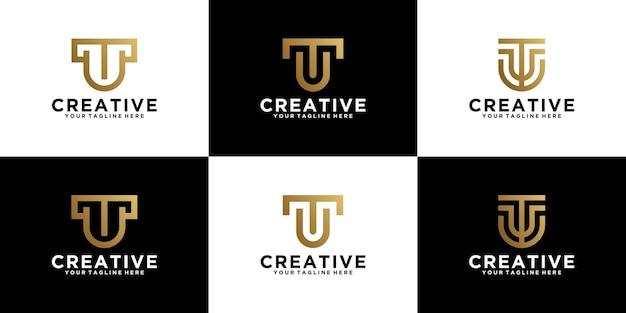 Conjunto de letras de combinação de logotipo simples ut design inspirador