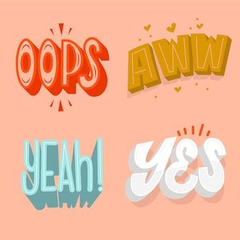 Conjunto de letras de expressões e onomatopéias em estilo retro