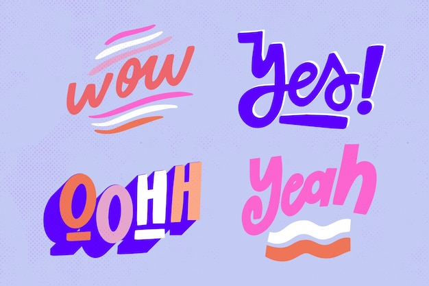 Conjunto de letras de expressões e onomatopéias em estilo vintage