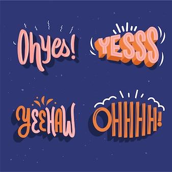 Conjunto de letras de expressões e onomatopéias