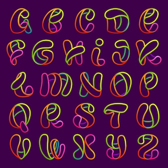 Conjunto de letras de linha de néon brilhante. estilo de fonte