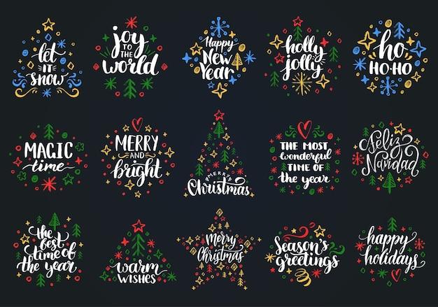 Conjunto de letras de mão de ano novo em preto
