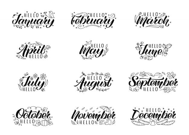 Conjunto de letras de mão desenhada com nomes escritos à mão de meses e rabiscos.
