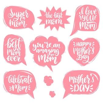 Conjunto de letras de mão do dia das mães em balões de fala