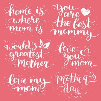Conjunto de letras de mão do dia das mães para cartões comemorativos.