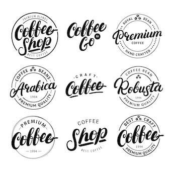 Conjunto de letras de mão escrita café