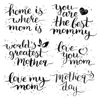 Conjunto de letras de mão feliz dia das mães