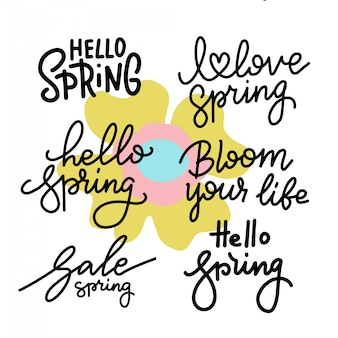 Conjunto de letras de mão primavera. coleção tipográfica e caligráfica de linha na moda.
