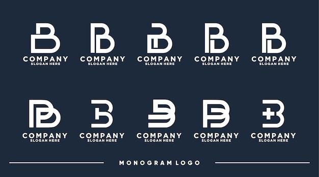 Conjunto de letras de monograma de coleção bpd com vetor premium abstrato