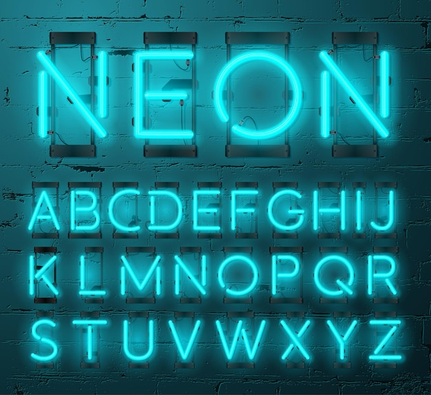 Conjunto de letras de néon no fundo da parede de tijolos