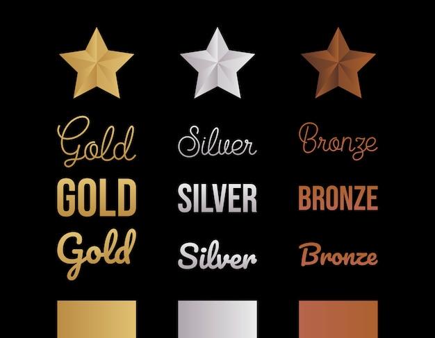 Conjunto de letras de ouro, prata e bronze