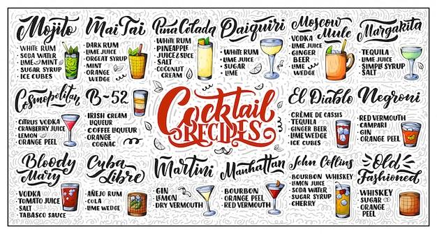 Conjunto de letras de receitas de cocktails.