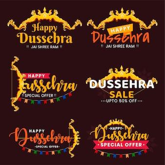 Conjunto de letras de tipografia feliz festival indiano dussehra.