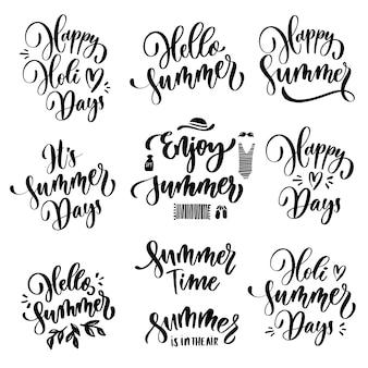 Conjunto de letras de verão.