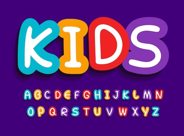 Conjunto de letras de vetor de crianças. engraçado alfabeto brilhante criativo.