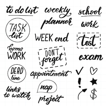 Conjunto de letras de vetor para o planejamento diário