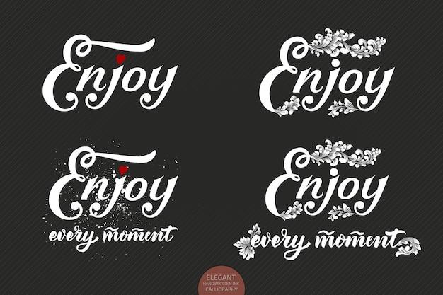 Conjunto de letras desenhadas à mão desfrute com um pequeno coração e elementos florais