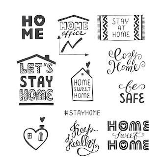 Conjunto de letras desenhadas à mão sobre coronavírus covid19 trabalho em casa em casa