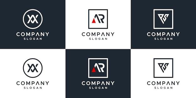 Conjunto de letras design de logotipo