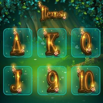 Conjunto de letras diferentes para interface de usuário do jogo.