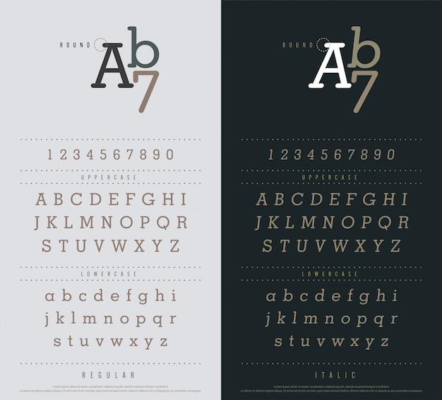 Conjunto de letras do alfabeto clássico. fonte estreita sanserif