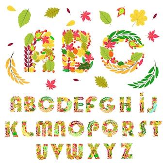 Conjunto de letras do alfabeto de elementos florais