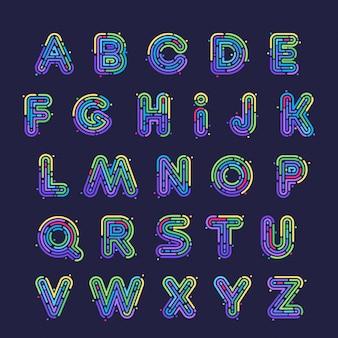Conjunto de letras do alfabeto de linha ou impressão digital de néon. estilo da fonte, elementos de modelo de design.