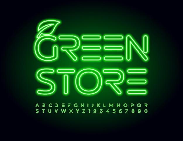 Conjunto de letras do alfabeto e nubers de fonte de tubo de luz verde de neon techno