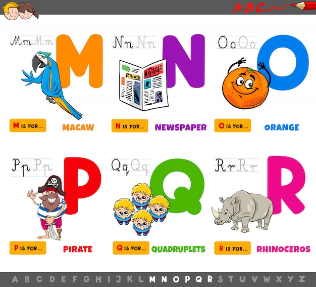Conjunto de letras do alfabeto educacional dos desenhos animados
