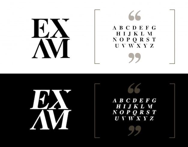 Conjunto de letras do alfabeto elegante clássico.